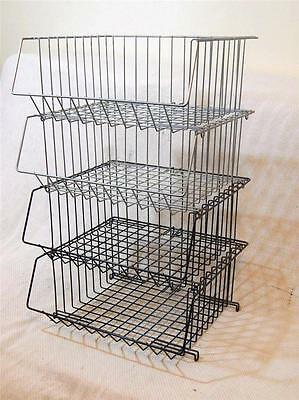 "Lot 4 Vintage Wire Metal Office Desk Baskets Stacking Industrial  16""x15""x6"""