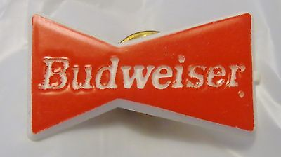 BUDWEISER Lapel/Hat Pin - Red & White - Classic Bow Tie Design Circa 1994 - NEW