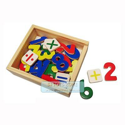Kids Learning Wooden Toy Box Magnetic Numbers Math Sign 37PCS Fridge Magnet