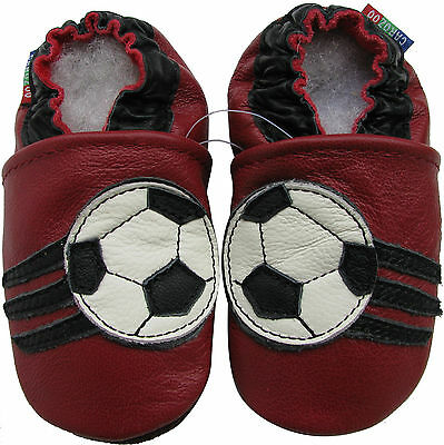 carozoo soccer dark red 3-4y C2 soft sole leather toddler shoes slippers