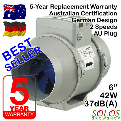 "6"" 150mm HYDROPONIC INLINE EXHAUST FAN SILENT EXTRACTOR BLAUBERG TURBO 150 AU"