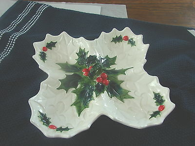 Lefton Christmas Holly Divided Serving Dish With Handle #6060