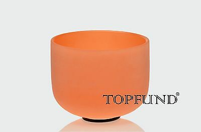 """Orange D# Sexual Chakra Frosted Quartz Crystal Singing Bowl 8""""+Mallet+O-ring"""