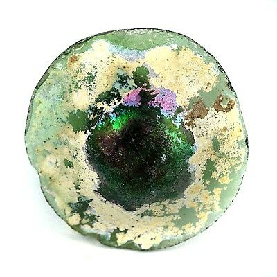 Very Old Recovered High Patina Glass Bottle Base Fragment 50mm