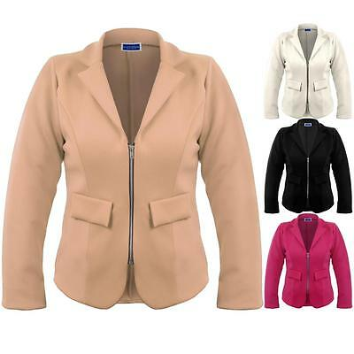 Women's V Neck Collared Zip Front Ladies Plus Size Office Smart Blazer Jacket