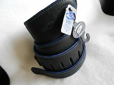 Uk Made Black/blue Deluxe Padded Leather Acoustic, Electric Or Bass Guitar Strap
