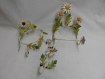 Vintage Daisy Leafy Floral Tole Toilet Paper Holder Soap Dish Wall Hook 4153-15