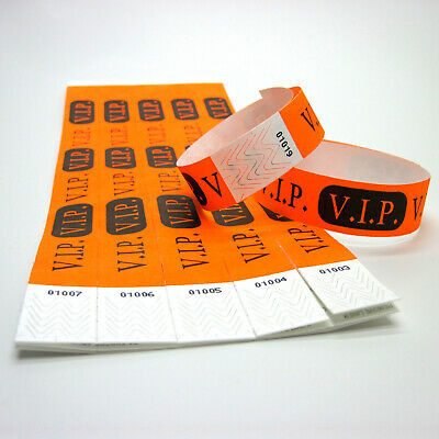 100 VIP Event Eintritts Kontroll Einlass Tyvek Arm Bänder Armbänder VIP orange