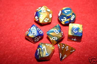 Chessex Gemini Blue & Gold Polydice dice Set  26422