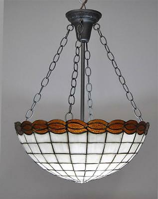 Vintage  Leaded Glass Chandelier Light Fixture Amber Cream