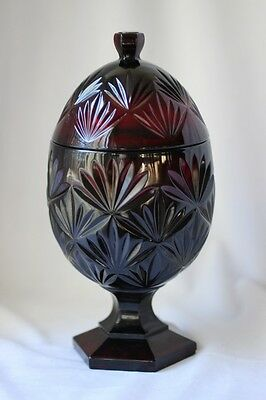 VINTAGE CRISTAL D' ARQUES RUBY RED FOOTED EGG SHAPED CANDY DISH WITH LID c1970