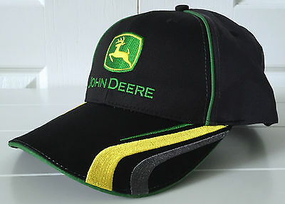 John Deere Black and Gray All Fabric Hat Cap w Vintage Logo and Cool Details