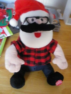 """Holiday Living Plush Santa in red Flannel Shirt plays """"SHAKE IT"""" 125"""" tall  NWT"""
