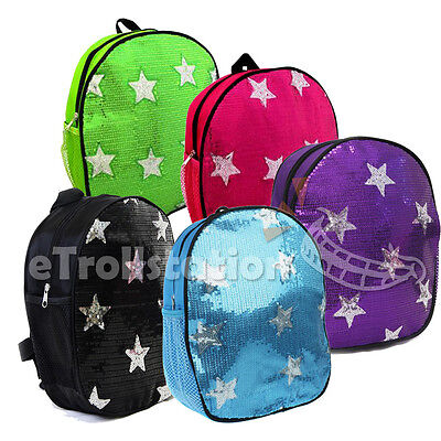 Lovely Dance Bag Girls Kids Children Sequin Front Stars Backpack 5 Color Option
