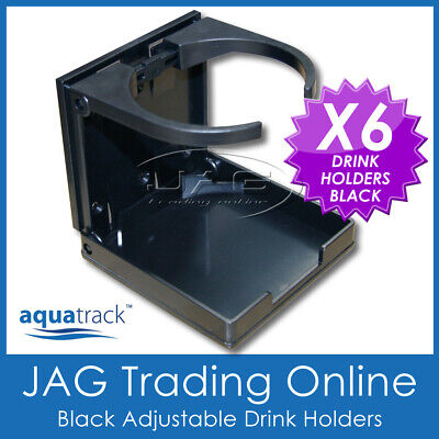 6 x BLACK ADJUSTABLE FOLDING DRINK HOLDERS- Marine/Boat/Caravan/Car/4x4/RV/Cup B