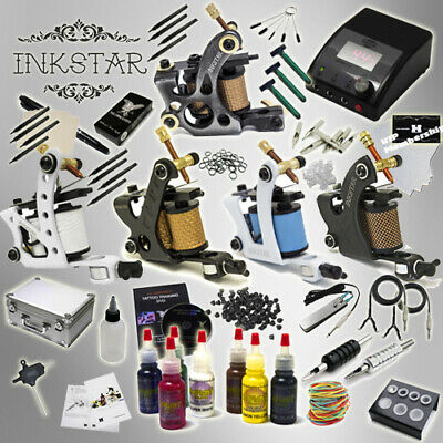 Complete Tattoo Kit Professional Inkstar 5 Machine Ace CASE GUN Radiant Ink Set