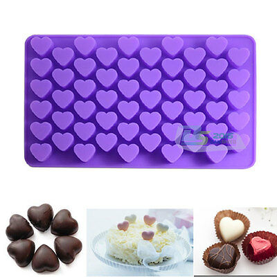 55 Mini Hearts Silicone Soap Mold Cake Candy Chocolate Mould Ice Baking Tool New