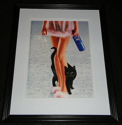 2000 Skyy Vodka MEOW Lingerie Framed 11x14 ORIGINAL Advertisement
