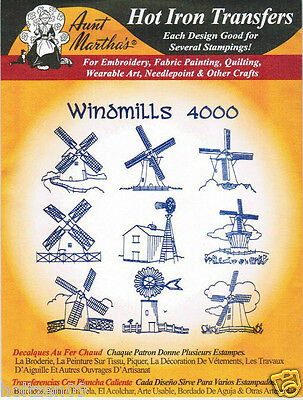 Windmills #4000 Aunt Martha's Hot Iron Embroidery Transfer Pattern