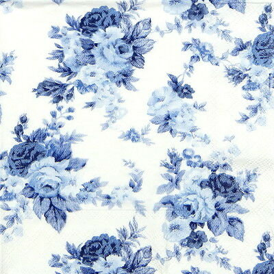 4x Single -Antoinette Roses Blue- Paper Napkins for Party, Decoupage Craft