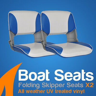 2 Premium Folding Skipper Boat Seats Marine All Weather Blue/White