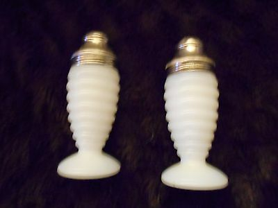 VINTAGE MILK GLASS SALT & PEPPER SHAKER SET METAL TOPS HAZEL ATLAS MARKED