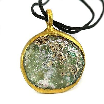Wrapped Pendant Old World Recovered Patina Glass Fragment Piece 30mm Diameter