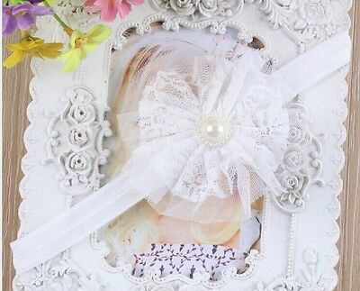 ONE WHITE Baby Infant Kids Girl Toddler Flower Lace Headband Headwear Hair Band