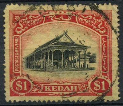 Kedah 1921-32 SG#37 $1 Black And Red/Yellow Used Wmk Crown To Right #A80345
