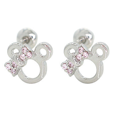 White Gold Filled 18k Baby Screwback Earrings Pink Crystal Minnie Mouse Girl