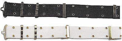 """Military Style Pistol Belt With Metal Buckles - Rothco Black or White 48"""" Belts"""