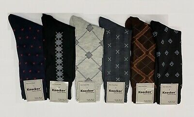 6 12 pairs Lot Knocker Mens Solid Assorted Print Design Dress Socks size 10-13