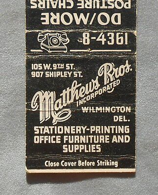 1940s Matchbook Matthews Bros. Stationery Printing Do/More Chairs Wilmington DE