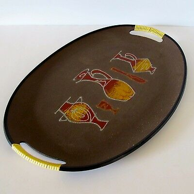 1960's Oval Serving Tray with Funky Drinks Motif in Red, Gold & Brown