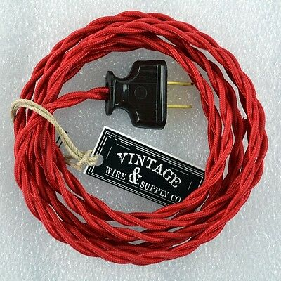 RED Cloth Cover Twisted Wire Vintage Rewire Kit Lamp Cord Fan Antique Restore