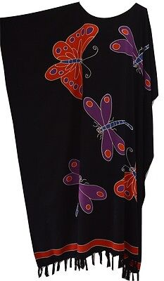 RIA Purple Dragonfly Kaftan Dress Long Ladies Cover One Size Cool Black Purple