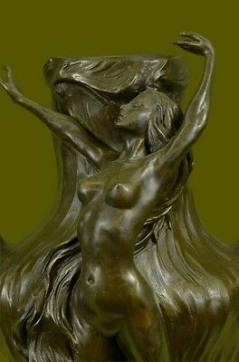 Victorian Art Deco Jugendstil Messing Kupfer Bronze Nude Nymph Fee Elf Vase