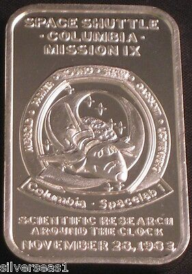1984 SPACE SHUTTLE COLUMBIA MISSION IX SPACE LAB 1 SCIENCE RESEARCH SILVER BAR