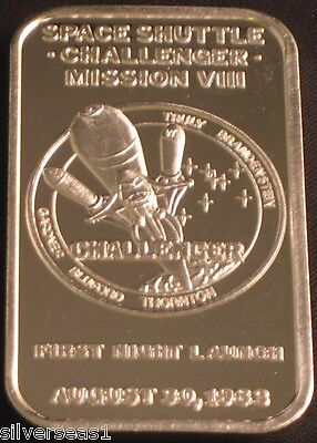 1984 SPACE SHUTTLE CHALLENGER  ~MISSION VIII ~FIRST NIGHT LAUNCH SILVER ART BAR