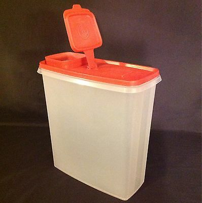 Vintage Tupperware Super Cereal Storer Red Lid 1588-8/1590-2 10x9x4.5 Container