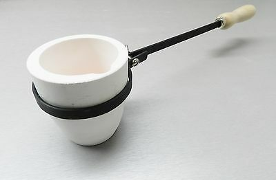 1200 Gram Melting Crucible Dish Cup & Holder Handle Melt Pouring Gold Silver