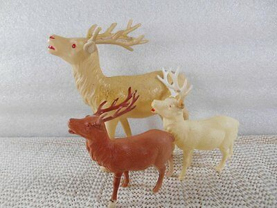 """3 Vintage CELLULOID REINDEER 5"""" White Occupied Japan 3 x 4"""" Brown & White USA"""
