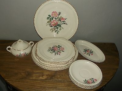 harker pottery company wild beach rose set of 15 dinnerware pieces