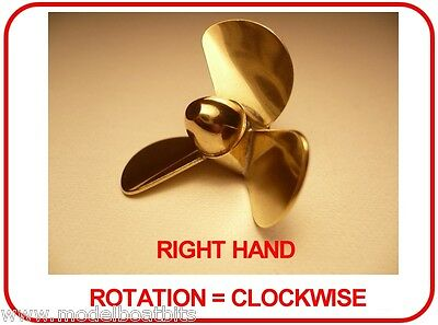BRASS MODEL BOAT PROPELLER 25mm 3 BLADE RIGHT HAND M4 ( CLOCKWISE ROTATION )