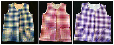 NEW LADIES PLUS SIZES 8-30 DOUBLE CHECK PRINT SIDE BUTTON OVERALL TABARD APRON