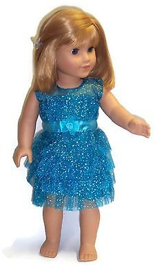 """Turquoise Sparkle Dress made for 18"""" American Girl Doll Clothes"""