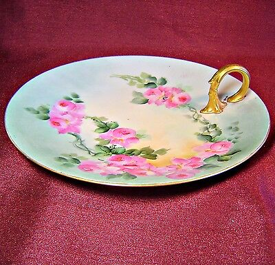 Large PL LIMOGES FRANCE Hand Painted NAPPY Artist Signed GORGEOUS ROSES & GOLD