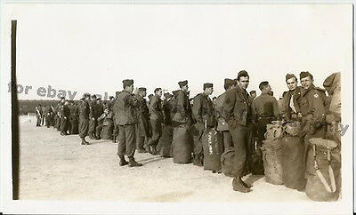 Vintage Old 1940's WWII Era Photo US Soldiers Arriving with Bags St. Paul MN ++