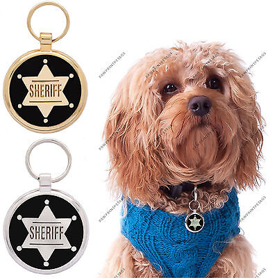 Pet Tag Custom Engraving Sheriff Dog ID Tags Charm Pettag engraved tags