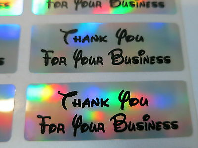 400 Disney Font Silver Holographic Thank You for your business Stickers Labels